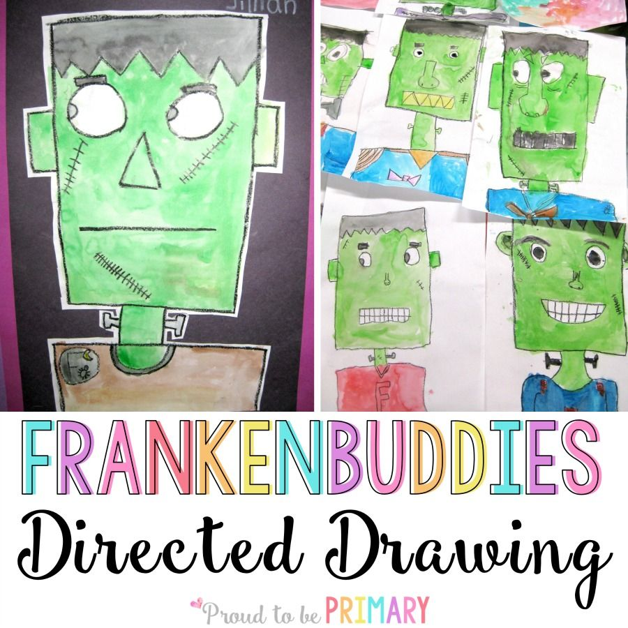 Complete this Frankenstein Franken-buddy directed drawing lesson with your class at school and create the perfect bulletin board display for Halloween.