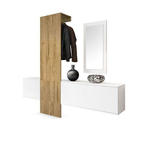 Garderobe Wandgarderobe Carlton Set 1, Korpus in Weiß matt / Paneel in Eiche Nature, http//www ...