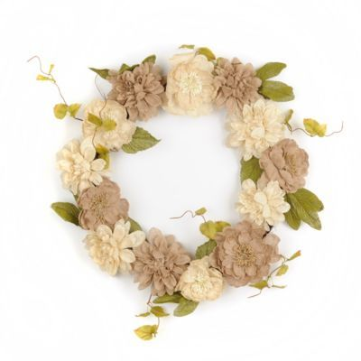 Your Spring décor will look classically homemade with touches like this Burlap Dahlia and Peony Wreath. #kirklands #SweetSimplicity