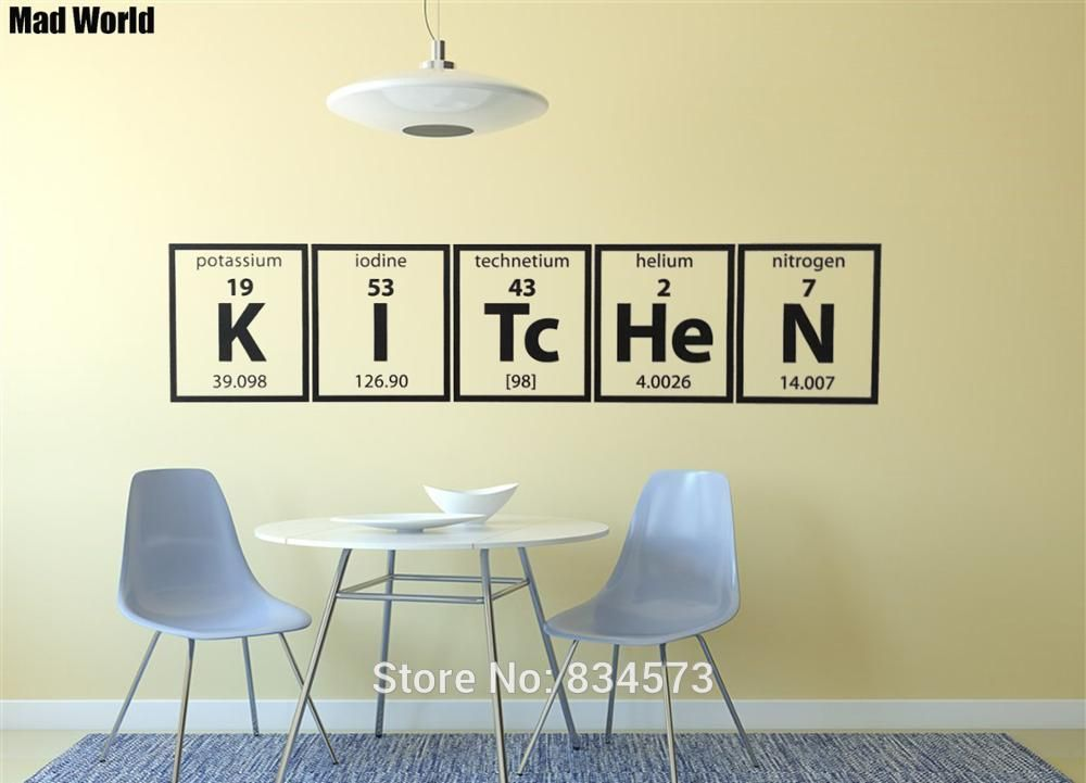 Mad World Periodic Table Of Elements Kitchen Cooking Wall Art Stickers Wall Decal Home Decoration Removable Decor Wal Sticker Wall Art Home Decor Wall Stickers