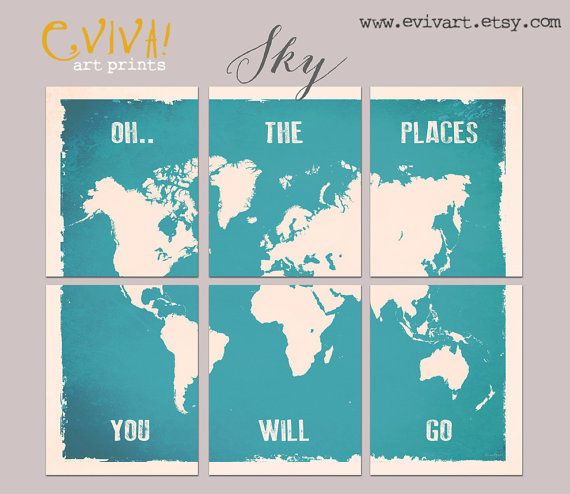 Oh The Places You Will Go World Map Print Six 11x14 By Evivart 90 00 World Map Wall Decor World Map Wall World Map Mural