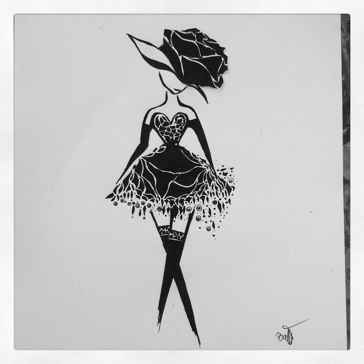 TABLEAU PEINTURE Dessin Encre Femme Cadre - Tableau dessin encre ...