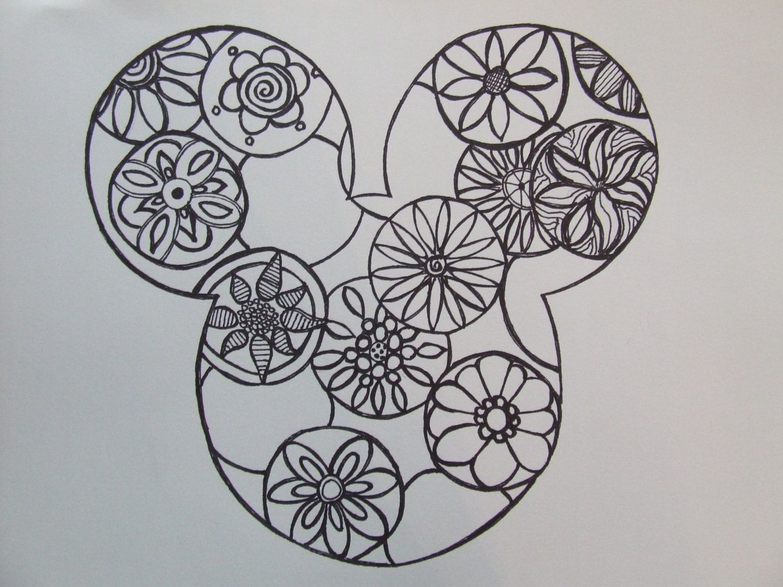 Disney Zentangle Coloring Pages : Mickey mouse zentangle original artwork zen