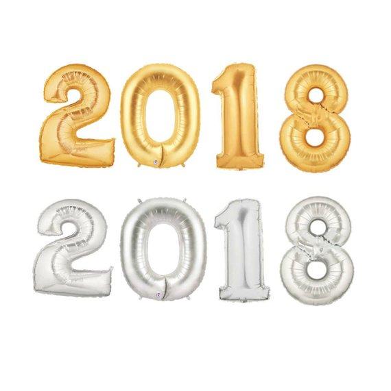 GIANT 2018 Balloons - LARGE 2018 Silver Balloons - JUMBO 2018 Gold Balloons, New Years Balloons, cel