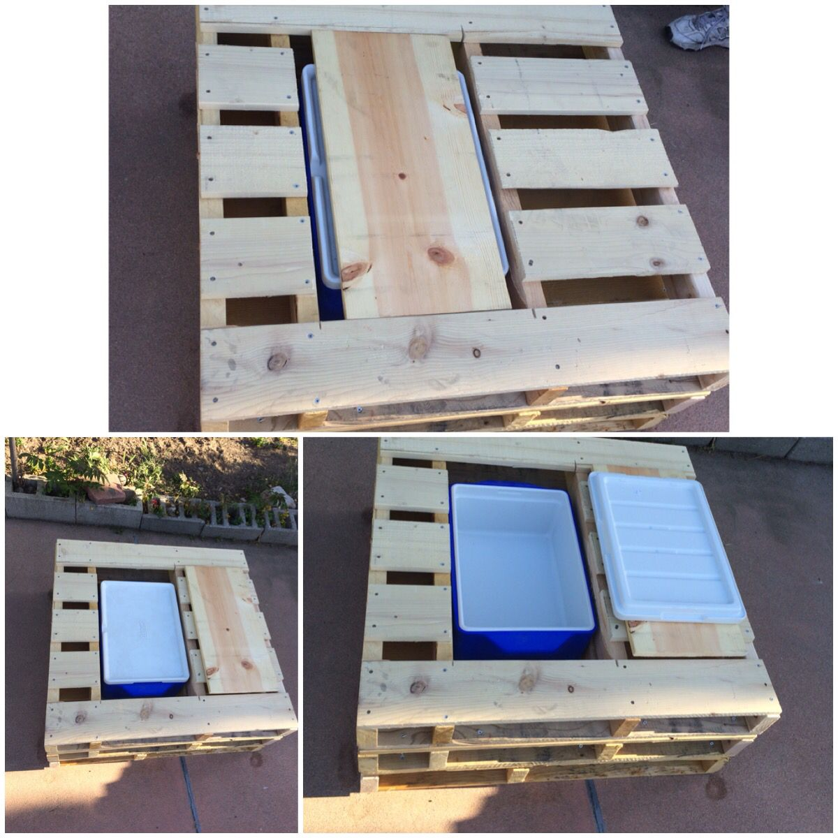 Pallet corner table with cooler built in
