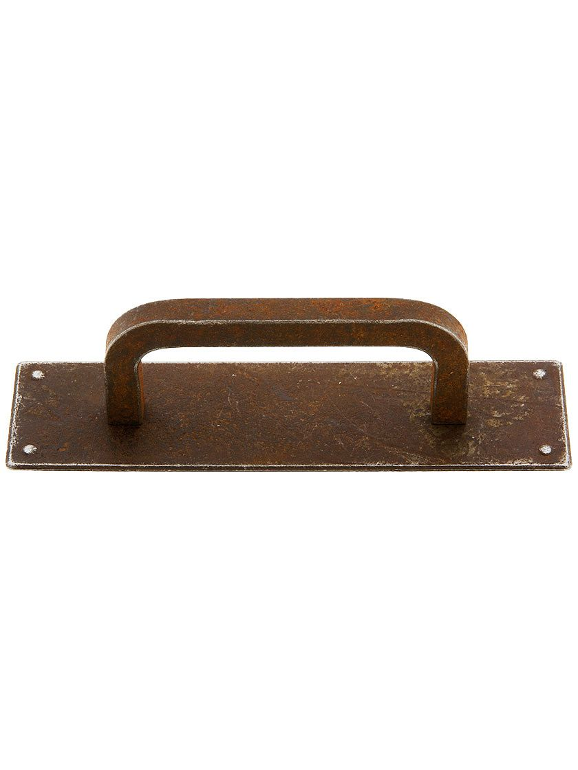 Steel Cabinet Pull with Backplate In Distressed Rust ...