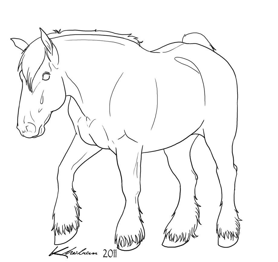 Draft Horse Lineart By Kholran On Deviantart Horse Coloring Pages Warmblood Horses Horse Coloring