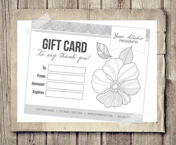 Gift Card Certificate Template For By Photographtemplates On Etsy