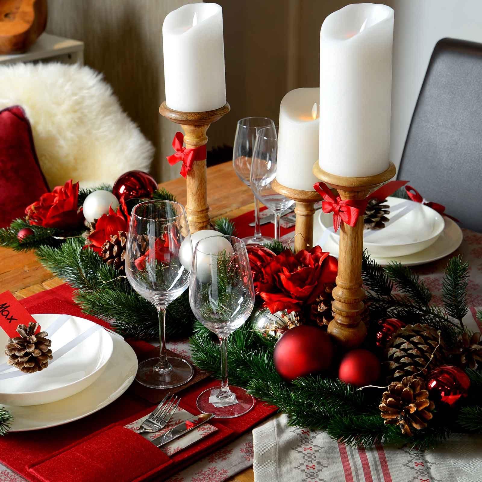 Weihnachtliche Tischdekoration Im Romantische Rot Look Weihnachten