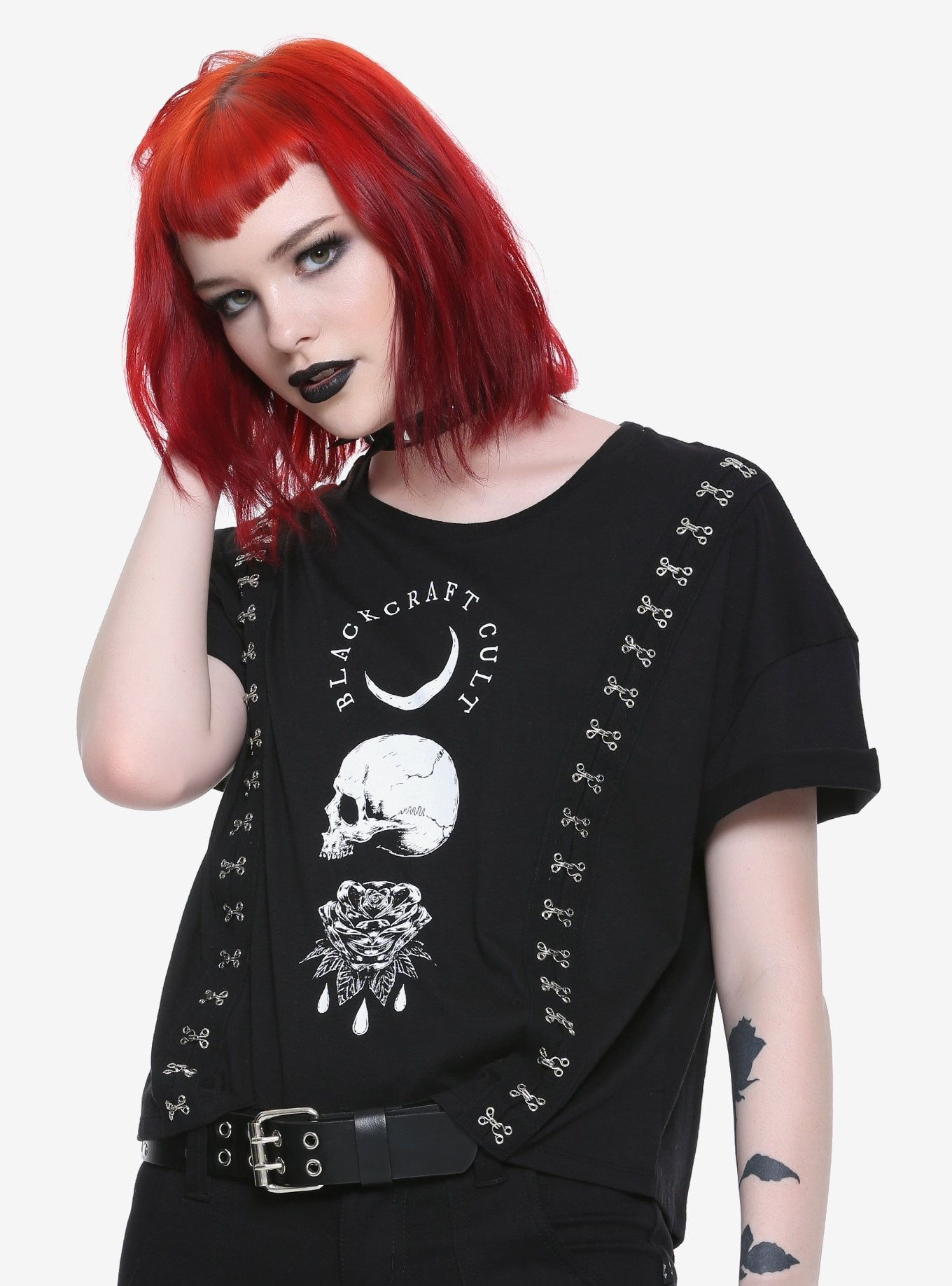 501d456cbe4a5 BlackCraft Hook   Eye Closure Girls Top Hot Topic Exclusive in 2019 ...