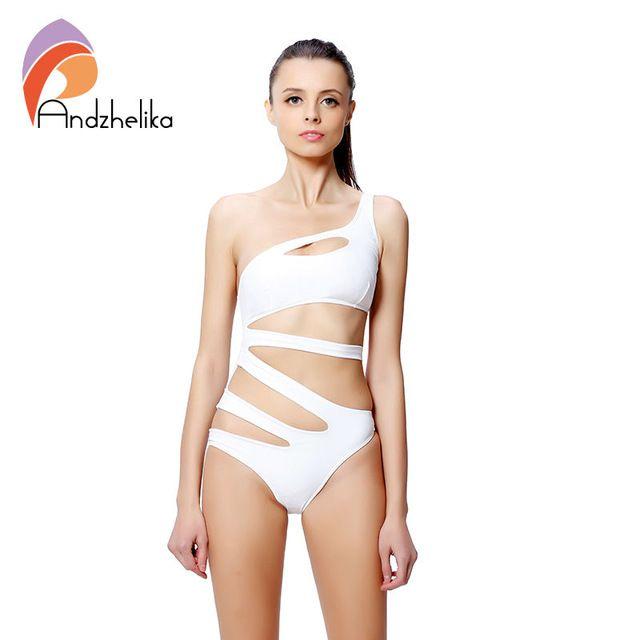 cc3b32afa 【 $9.74 & Free Shipping / Coupons 】2016 Sexy One Piece Swimsuit Bandage  Women Solid White Blue shoulder Cut Out Monokini Swimwear Bathing Suit |  worth ...