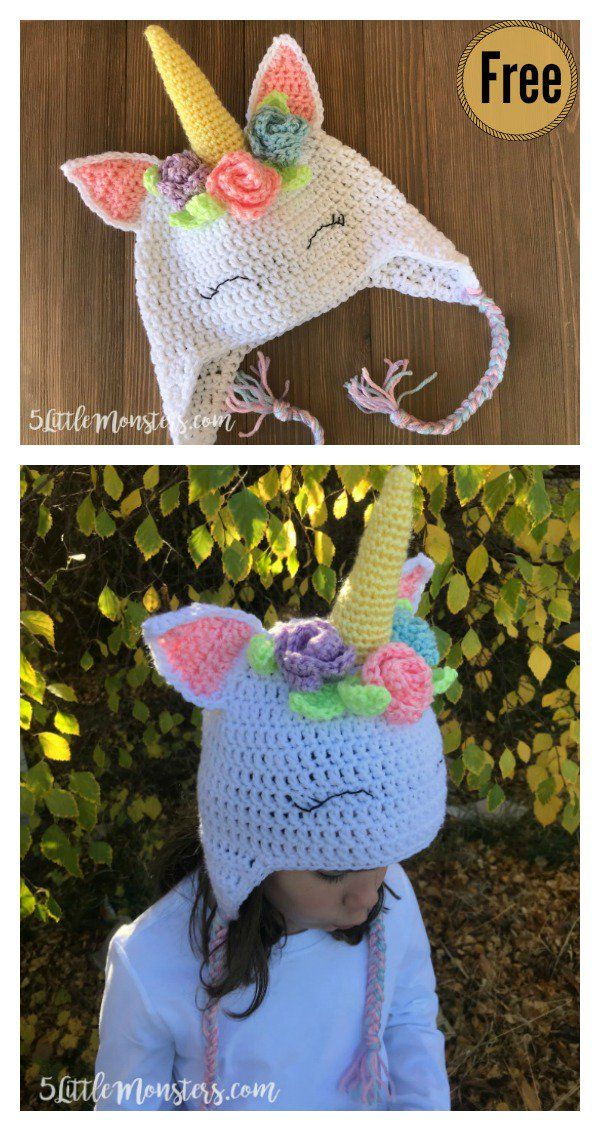 Unicorn Hat Free Crochet Pattern with Flowers | gorro de buho ...