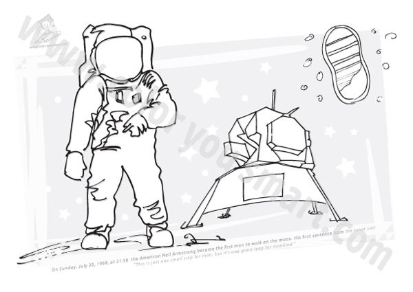 neil armstrong coloring sheet | First step moon | Moon ...