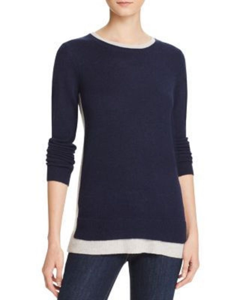 NWT C by Bloomingdale's Double Crew Neck Long Cashmere