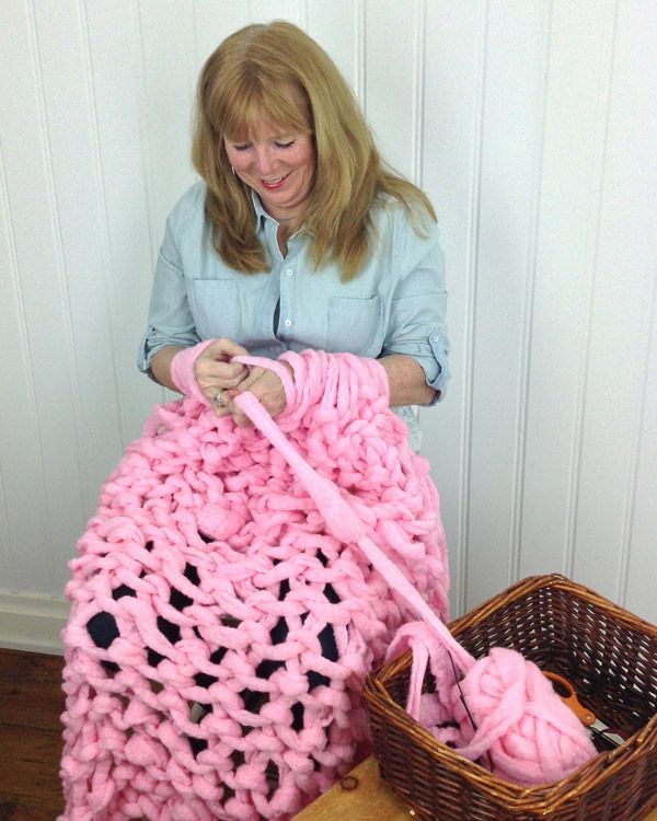 Knitting A Blanket With Arms : Maggie shows you how to arm knit a blanket crochet