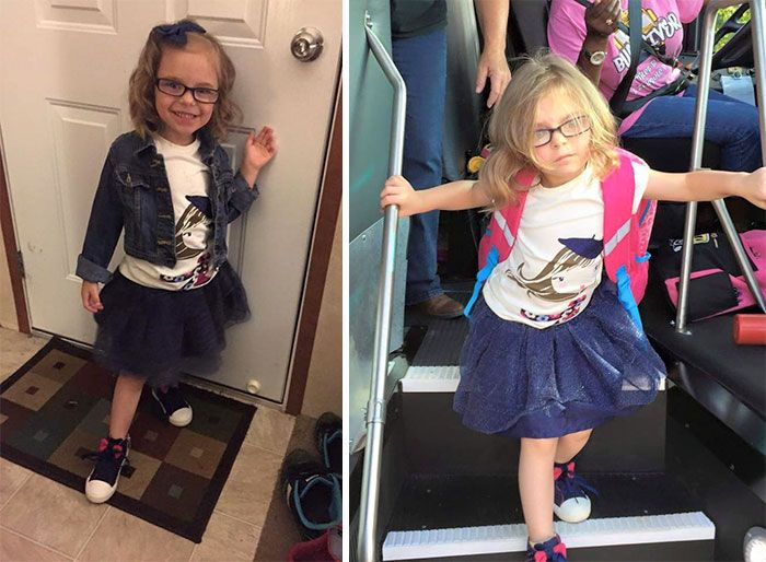 27 Hilarious Pics Of Kids Before After Their First Day Of School 1st Day Of School First Day Of School Outfit First Day Of School