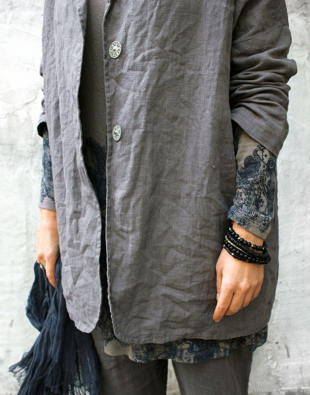 9f81713b575b Купить Льняной жакет - серый, лен, льняной жакет, жакет женский ...