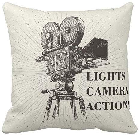 Amazon.com: Kissenday 18x18 Inch Lights Camera Action Director Motion Cotton Polyester Decorative Home Decor Sofa Couch Desk Chair Bedroom Car Television Scene Memory Hollywood Theater Square Throw Pillow Case: Home & Kitchen