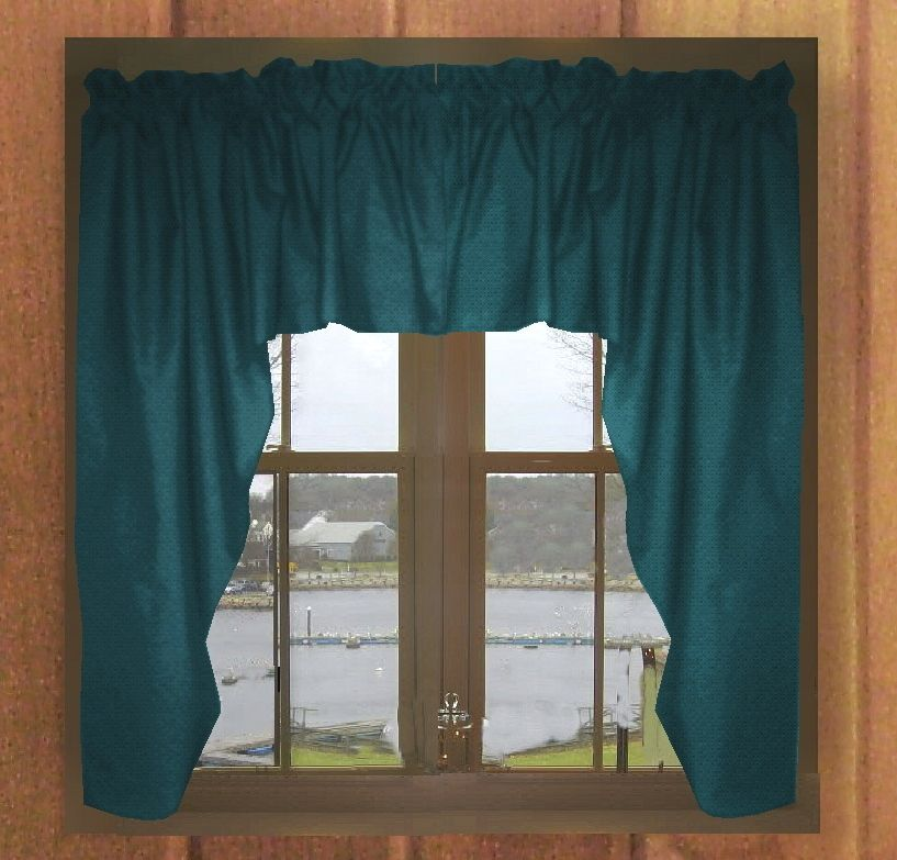 Ds43759darkteal Solid Dark Teal Colored Swag Window Valance Teal Kitchen Curtains Teal Curtains Kitchen Curtains And Valances