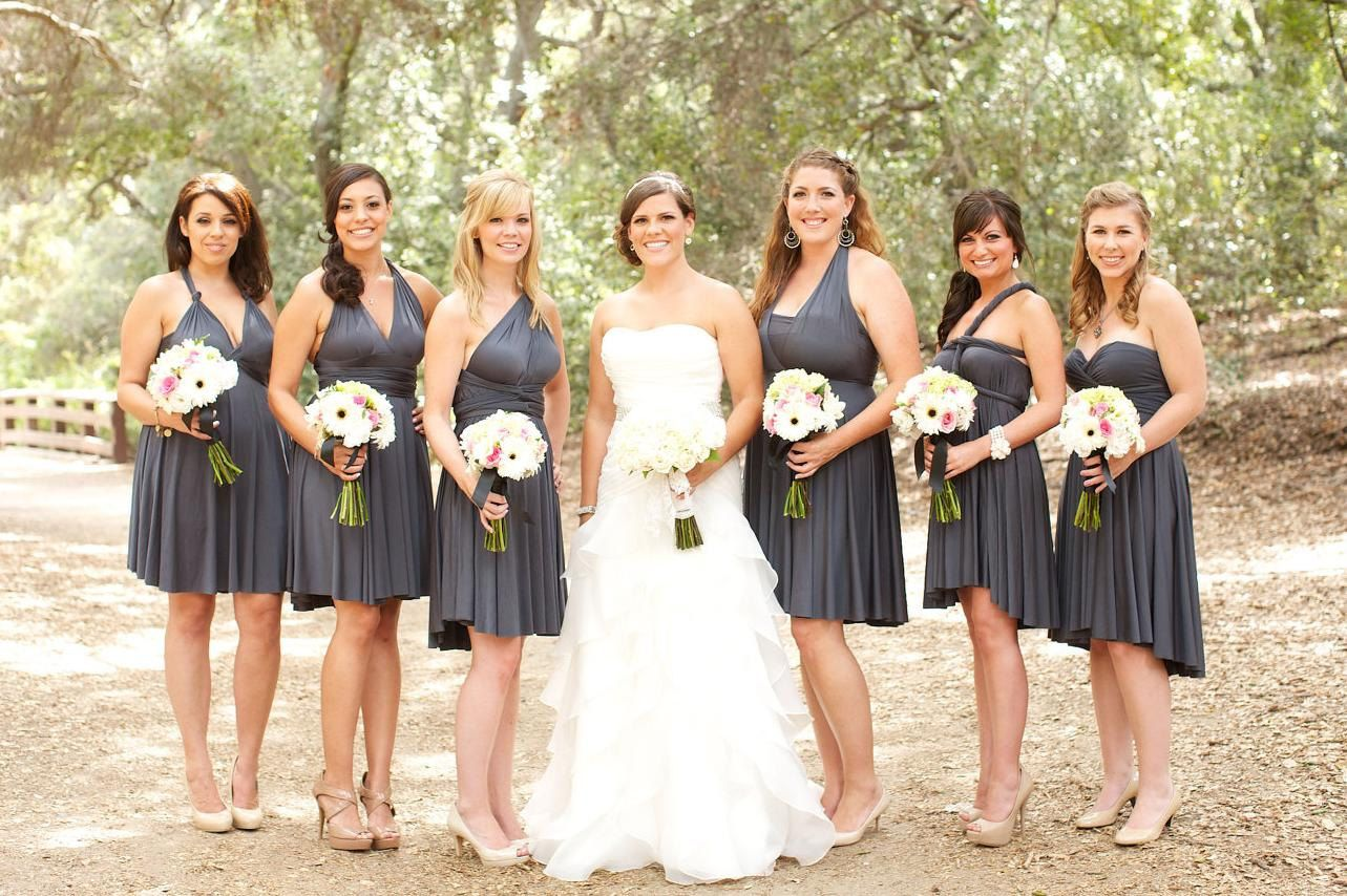 Charcoal Gray Convertible Infinity Bridesmaid Dress