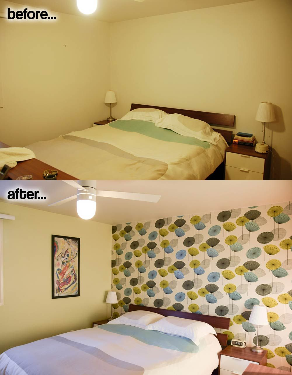 One accent wall of wallpaper - transforms Rebecca and Keith\'s ...
