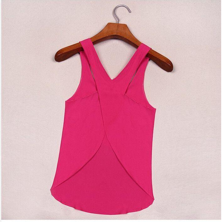 Summer Off The Shoulder O Neck Sleeveless Candy Color Fashion Sexy Chiffon Beach Casual Women T Shirt