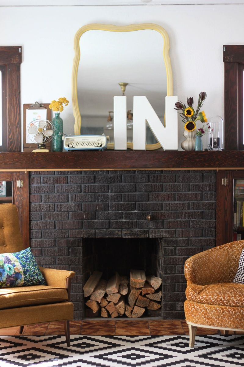 i love this fireplace dark grey painted fireplace with beam mantle rh pinterest com