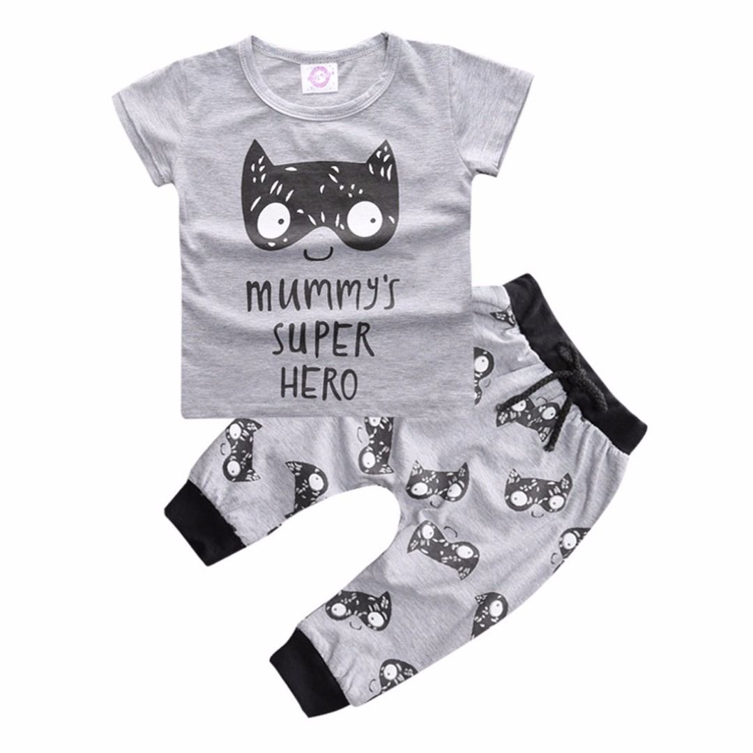 Baby Boy's Cotton Top Super Hero Graphic Tee & Pants/Bottom Set in Grey,  discount @ PatPat Mom Baby Shopping App
