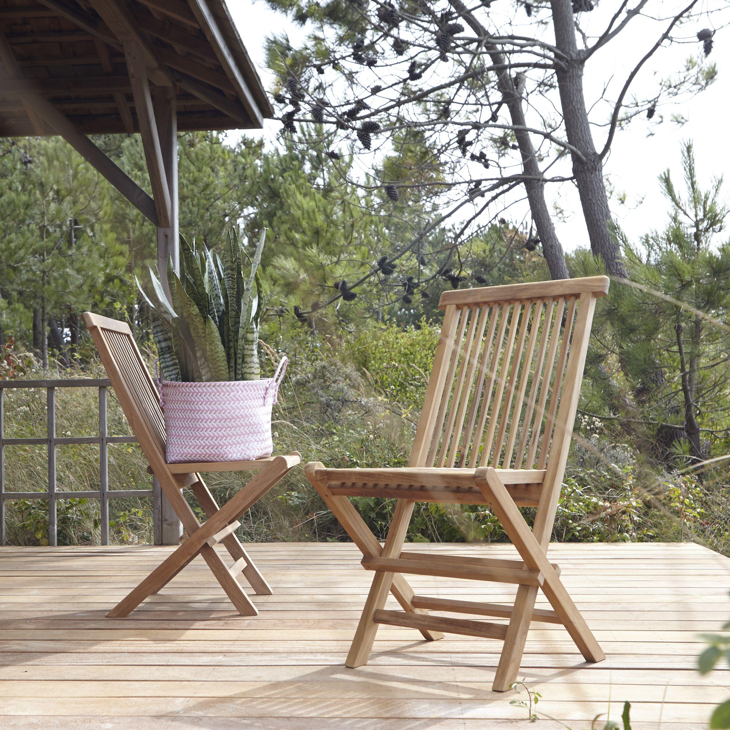 Ensemble De 2 Chaises De Jardin En Teck Capri Chaise Exterieur Agrement De Jardin Et Fauteuil Exterieur