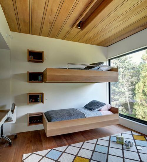 Floating Bed design featuring bunk bed assembly. image via homedit.com