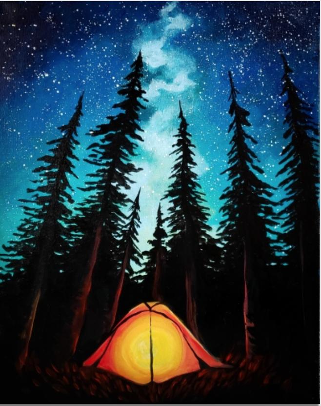 Camping Under Galaxy Stars Nature Art Painting Painting Art
