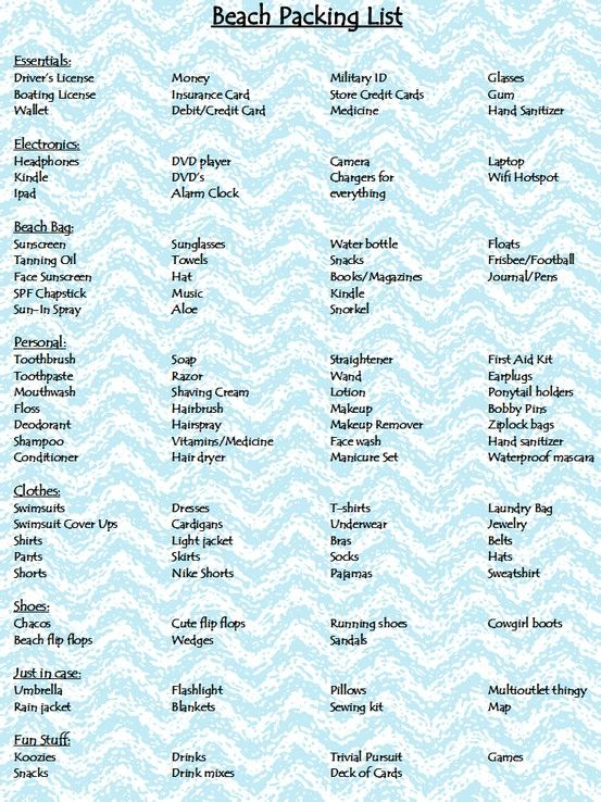 Packing List Packing List Beach Beach Packing Beach Vacation Packing List