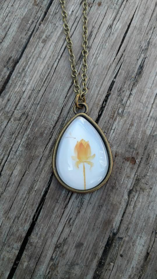 Bronze Teardrop Lotus Necklace Rustic Style Flower Charm Handmade Designer Fashion Jewelry