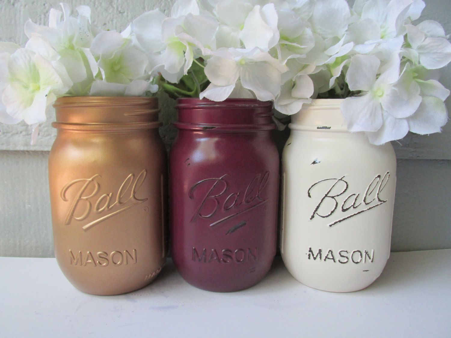 Maroon and cream wedding decor  Marsala Painted and Distressed Ball Mason Jars Gold Metalic