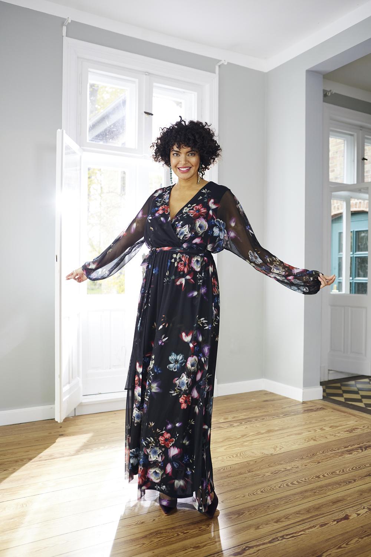 Abendkleid, Wickeloptik, Blütenmesh, Jersey-Unterkleid in 11
