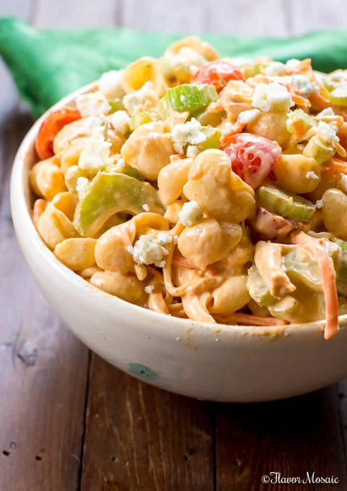 Buffalo Chicken Pasta Salad - Flavor Mosaic #buffalochickenpastasalad