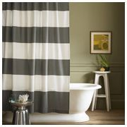 Striped shower curtain in gray and white
