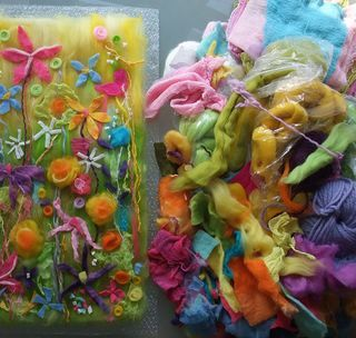 New felt picture in progress - Some handmade felt springy woolly felty flowers :)