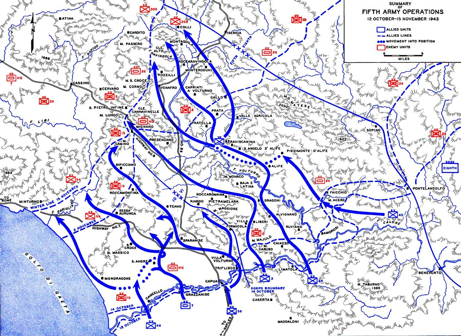 Show A Map Of Italy.Map Map Showing Us 5th Army Advances In Italy 12 Oct 15 Nov 1943