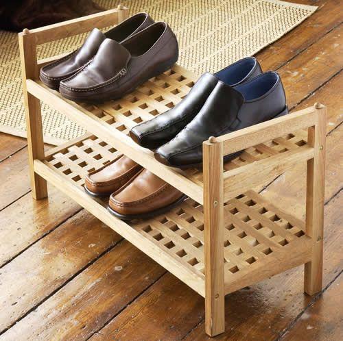 hallway wooden walnut shoe storage rack