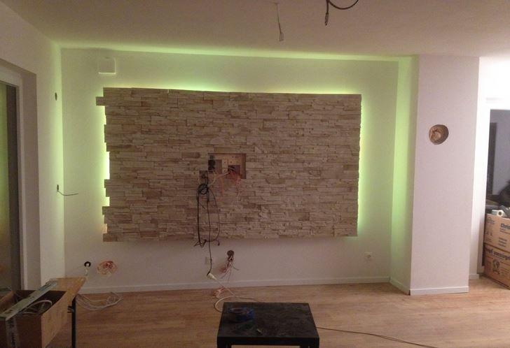 wohnzimmer steinwand tv led wohnzimmer pinterest steinwand led und wohnzimmer. Black Bedroom Furniture Sets. Home Design Ideas
