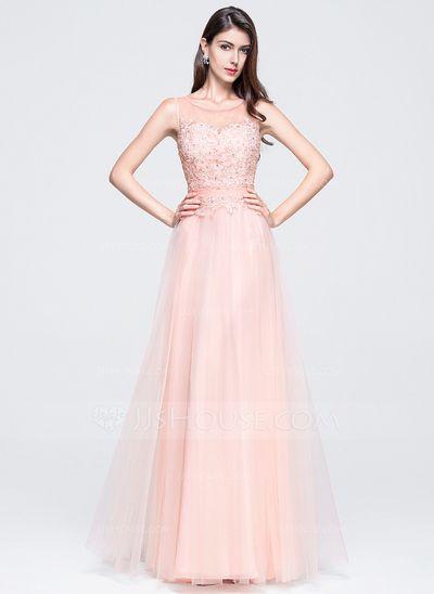 412492c5c Corte A Princesa Escote redondo Hasta el suelo Tul Vestido de baile de  promoción…