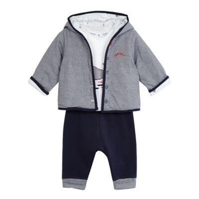 eeaab99fdc J by Jasper Conran Baby boys' navy whale applique hoodie, t-shirt and shorts  set   Debenhams