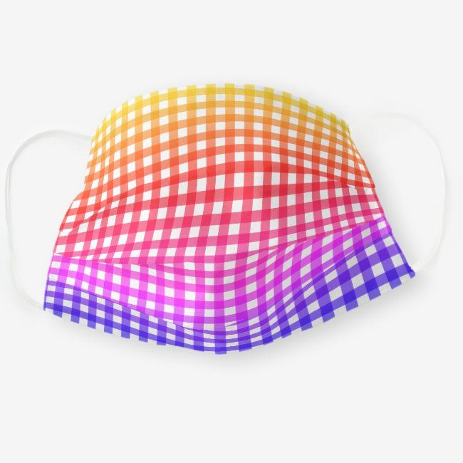 Cool Rainbow Gingham Check Pattern Cloth Face Mask   Zazzle.com