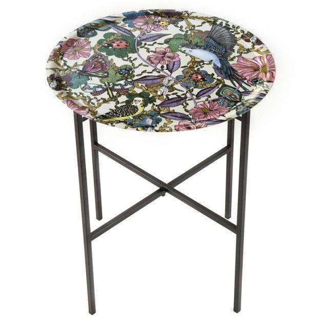 Hopfällbart brickbord Budgies lila blad offwhite 46 cm - möbler - INREDNING