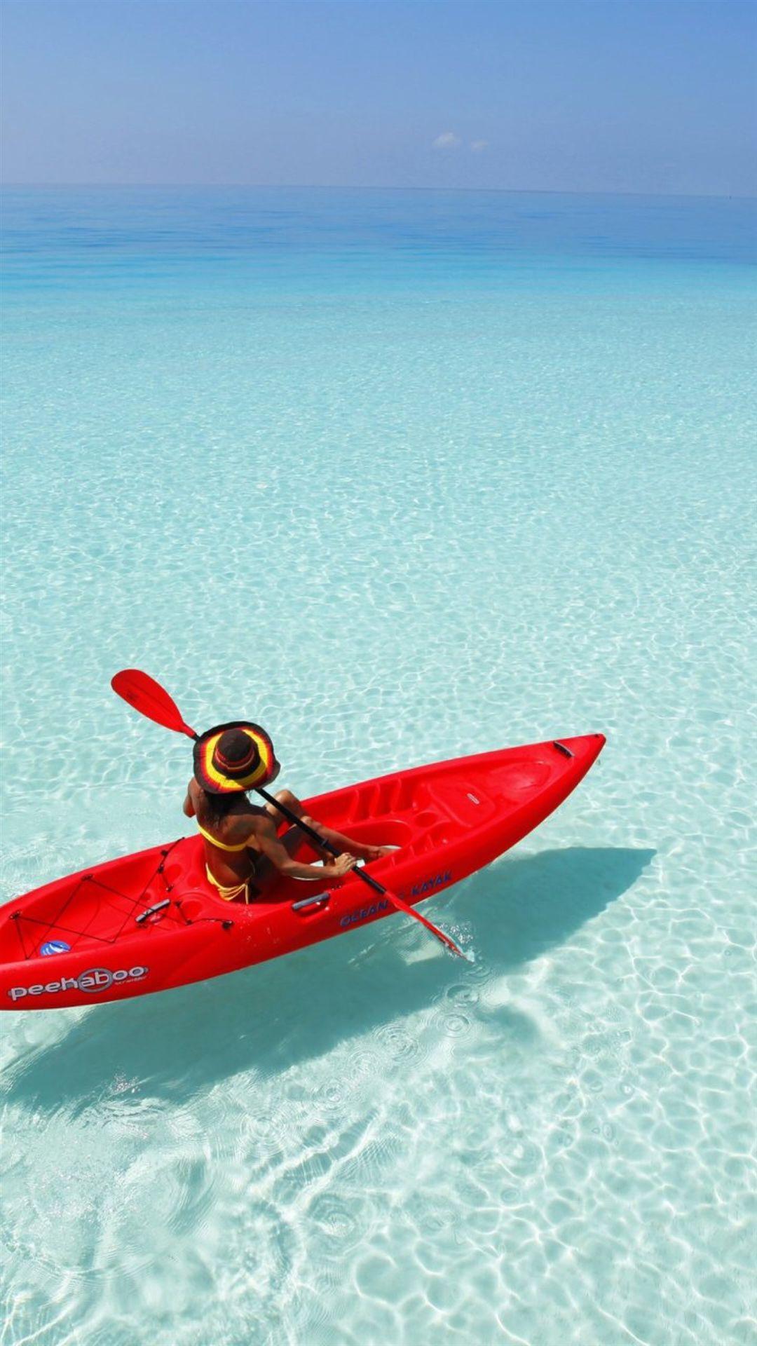 Wallpaper iphone sea - Kayak Boating Sports Nature Sea View Iphone 6 Plus Wallpaper