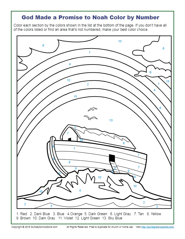 God Made A Promise To Noah Color By Number - Children's Bible Activities  Sunday School Activities For Kids Bible Activities For Kids, Bible  Worksheets, Childrens Bible Activities
