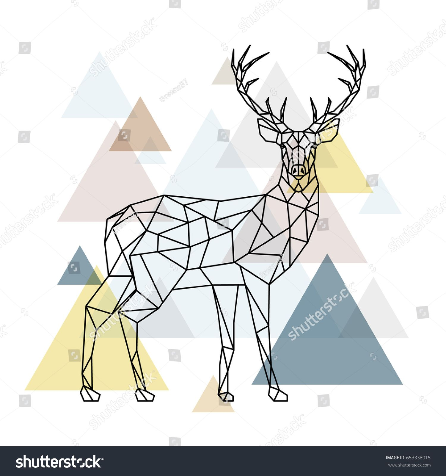Abstract Polygonal Deer Geometric Hipster Illustration Reindeer With Side View Scandinavian Style V In 2020 Hipster Illustration Reindeer Drawing Geometric Animals