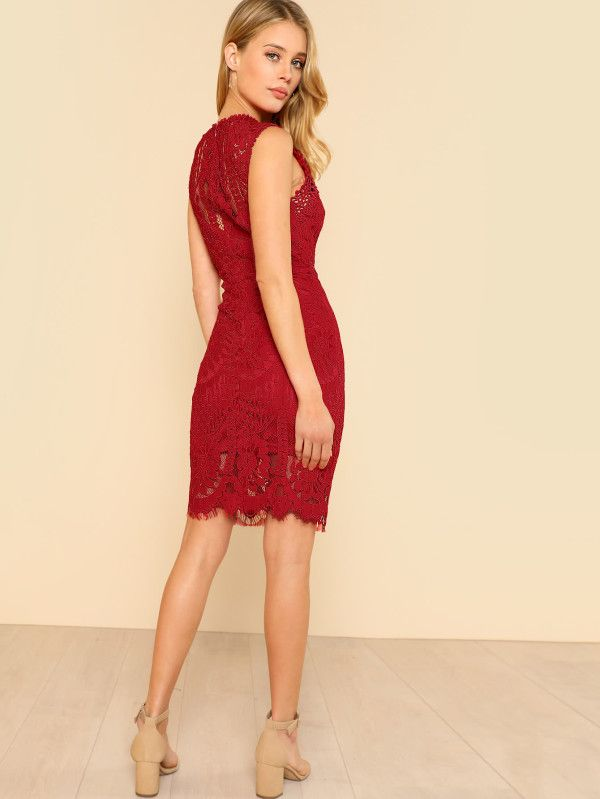 Shop Fitted Lace Overlay Dress Red Online Shein Offers
