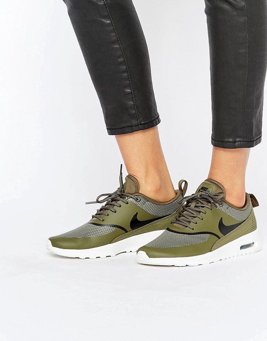 buy it now nike air max thea trainers in khaki green trainers by nike breathable mesh upper